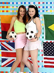 Two soccer lesbians fucking each others pussy with a strapon