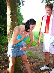 Naughty teenage brunette does a hot anal workout outdoor