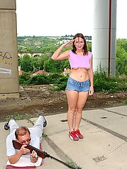 Freckled teen girl anally fucked by a senior cock outdoor