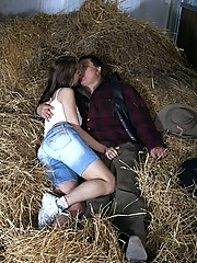 Cute chick fucking horny senior farmer in the hay indoors