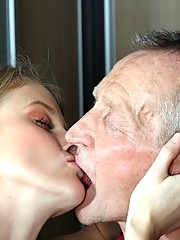 Teenie babe fucking a senior to learn some sexual skills
