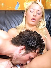 Cute and horny blonde fucks and sucks on the black couch