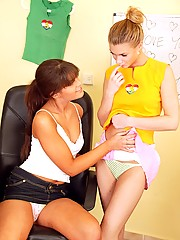 Two teenage girlfriends loving playing with each others slit