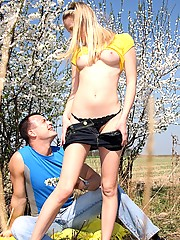 Blonde teen with a perfect body gets pounded hard outdoor
