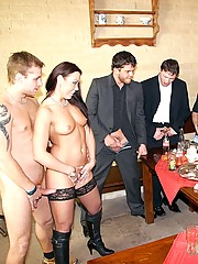 Cute horny spermbabe gives fuck show for her dinner buddies