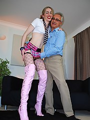Fucking a cute horny schoolgirl in sexy stockings hardcore