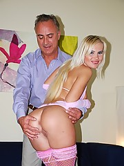 Horny and cute blonde babe likes fucking old looking wankers