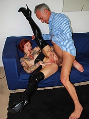 British tattoo slut gets fucked in her asshole by a senior