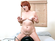 Fair skinned milf takes her first ride on the sybian machine