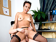 Hot office babe takes a cock ride on her break