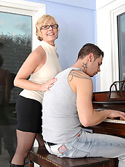 Hot Anilos instructor teases and flaunts her black alluring undies in front of his student