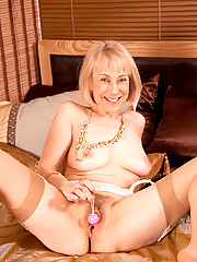 Hot blonde Hazel fondles her Anilos pussy with anal beads and meets her orgasm