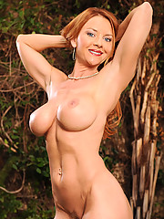 Horny Milf cougar pinches her own tits and slides off her black thong while giving a seductive look