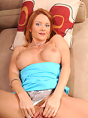 Tempting brunette Anilos Janet Mason stuffs her wet pussy with a light blue rabbit