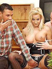 Blonde big boobed chick licking a guy his ass