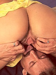 Blowing his load over her firm retro boobies