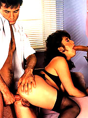 Hairy seventies lady takes two cocks backdoor