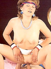 Shaved seventies lady loves cock in her bum