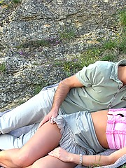 Tired teen falls asleep outdoor and gets cock