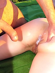 Teenie gets creamed while she sleeps outdoor