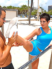 Hot ass booty shorts latina running on the beach gets picked up after her jog then penetrated hard and cumfaced in these hot amateur beach side fuck pics and movie