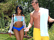 Juicy ass big booty madison gets nailed hard in her pussy in the pool after matsterbating to some horny guys