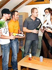 Birthday chick banged by her horny friends