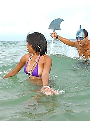 Hot latina gets attacked by a shark then pounded hard by the beach in these shark joke pics