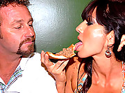 Beautiful milf tara gets her pussy eaten out after a few pizza slices with the milf hunter in these hot cock sucking banging vids