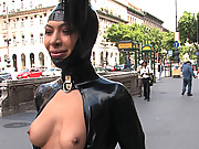 Beautiful girl is bound, helpless, and fucked in the streets