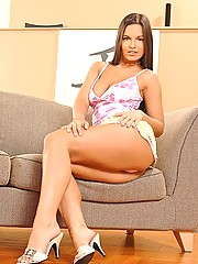 Eve Angel masturbates with a dildo on a hot summer day!