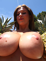 Brunette slut with huge tits gets covered in jizz after a hard pounding!