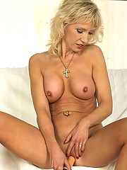 Bubbly older blonde with huge nipples