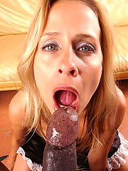 Blonde mom sucks massive black cock