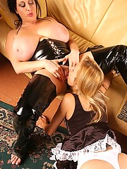 BBW dom makes skinny older maid work it