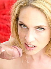 Big tittied blonde cougar sucks a younger mans big cock before letting him fuck her