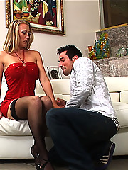 Sexy blonde cougar with nice tits and a bubble but gets fucked by a younger man