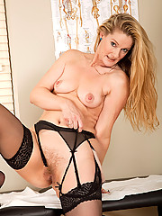 Hot blonde nurse from AllOver30 gives herself a penetrating physical