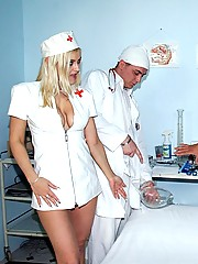 Very cute nurse performs a sperm tasting test