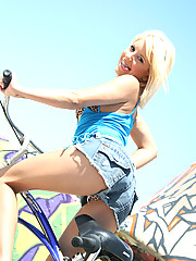 Teen blonde rides dude after getting horny off riding a bike!