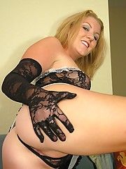 20 Pics Hot Wife Ashley in long lace gloves getting naughty
