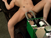 Hot bored intern fucks machines in boss office, cums while secretly videotaped.