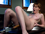Red head, natural big tits pussy fucked by machines, squirts.