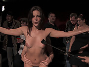 Bobbi Starr is locked in a cage and fucked by drunk and horny bar patrons