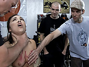 Hot brunette gets tied up in public and used by strangers