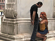 Flexible redhead is bound and stripped naked in public. Used by two men.