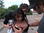 All natural Latin girl gets dominated and used in public by two men
