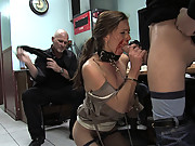 Hot girl fucked in a diner and made to give bj