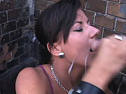 Czech model sucks cock and gets fucked in public
