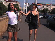 Scorching hot European babe gets tied up and fucked in public!